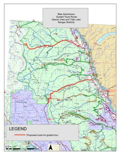 Trails Map of Bike Adventures Guided Tours in Glacier View and Tally Lake Ranger Districts in Flathead National Forest (NF) in Montana. Published by the U.S. Forest Service (USFS).