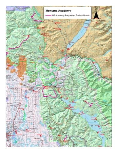 Recreation Map showing Montana Academy Guided Hikes (East) in Flathead National Forest (NF) in Montana. Published by the U.S. Forest Service (USFS).