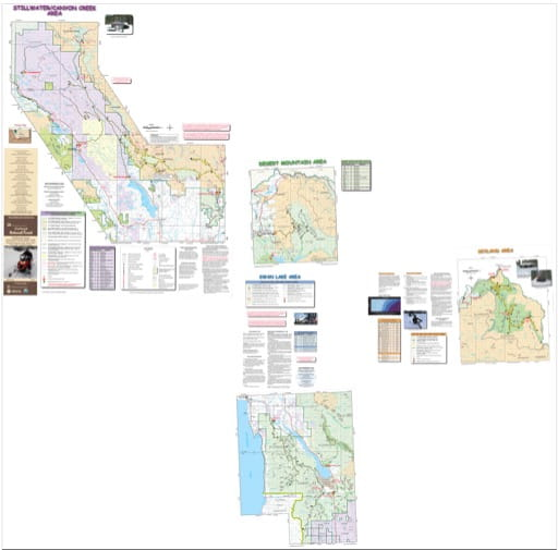 Map of Groomed Snowmobile Trails in the Stillwater/Canyon Creek, Desert Mtn. Swan Lake, & Skyland Areas in Flathead National Forest (NF) in Montana. Published by the U.S. Forest Service (USFS).