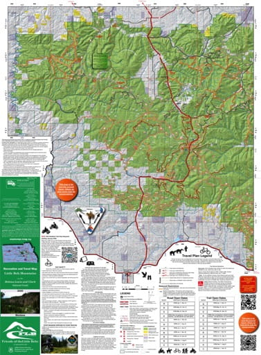 Recreation and Travel Map of Little Belt Mountains West in Helena-Lewis and Clark National Forest (NF) published by the U.S. Forest Service (USFS).