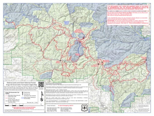 Map of Kings Hill Snowmobile Trail System in Helena-Lewis and Clark National Forest (NF). Published by the U.S. Forest Service (USFS).