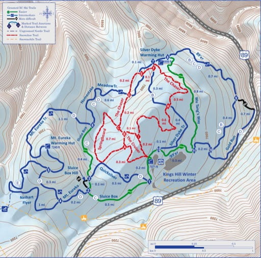 Map of Silver Crest Winter Trails in Helena-Lewis and Clark National Forest (NF). Published by the U.S. Forest Service (USFS).