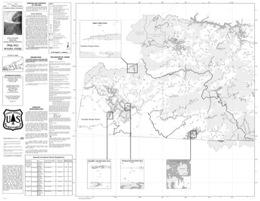 Motor Vehicle Use Map (MVUM) of the Tusquitee Ranger District (RD) of Nantahala National Forest (NF) in North Carolina. Published by the U.S. Forest Service (USFS).