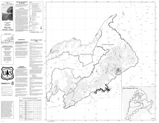 Motor Vehicle Use Map (MVUM) of the Grandfather Ranger District (RD) of Pisgah National Forest (NF) in North Carolina. Published by the U.S. Forest Service (USFS).