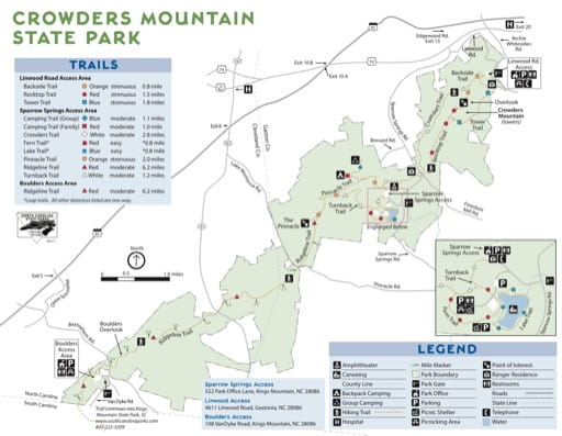 map of Crowders Mountain - Recreation Map