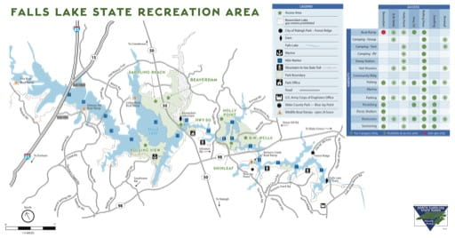 Visitor Map of Falls Lake State Recreation Area (SRA) in North Carolina. Published by North Carolina State Parks.