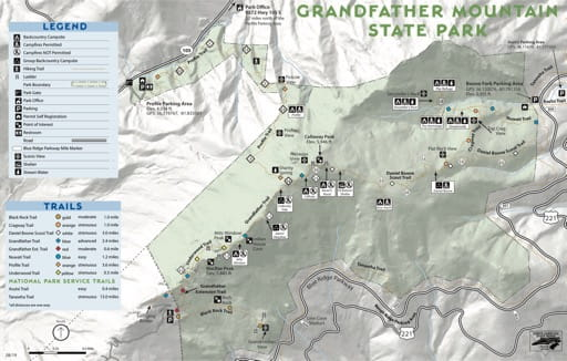 Visitor Map of Grandfather Mountain State Park (SP) in North Carolina. Published by North Carolina State Parks.