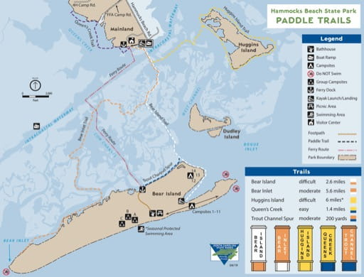 Map of Paddle Trails at Hammocks Beach State Park (SP) in North Carolina. Published by North Carolina State Parks.