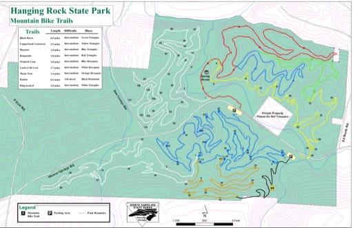 map of Hanging Rock - Bike Trails