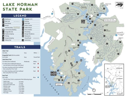 Visitor Map of Lake Norman State Park (SP) in North Carolina. Published by North Carolina State Parks.