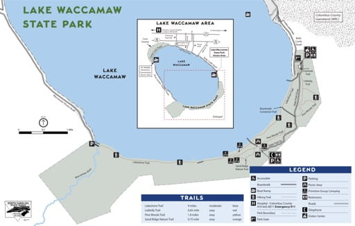 Visitor Map of Lake Waccamaw State Park (SP) in North Carolina. Published by North Carolina State Parks.