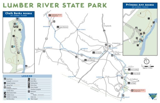 Visitor Map of Lumber River State Park (SP) in North Carolina. Published by North Carolina State Parks.