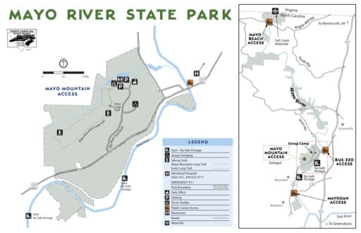 Visitor Map of Mayo River State Park (SP) in North Carolina. Published by North Carolina State Parks.