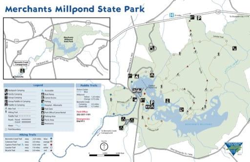Visitor Map of Merchants Millpond State Park (SP) in North Carolina. Published by North Carolina State Parks.