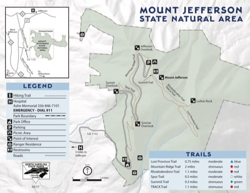 Visitor Map of Mount Jefferson State Natural Area (SNA) in North Carolina. Published by North Carolina State Parks.