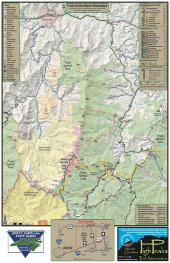 Trails Map of the Black Mountains including trails of Mount Mitchell State Park (SP) and the Pisgah National Forest (NF) in North Carolina. Published by North Carolina State Parks.