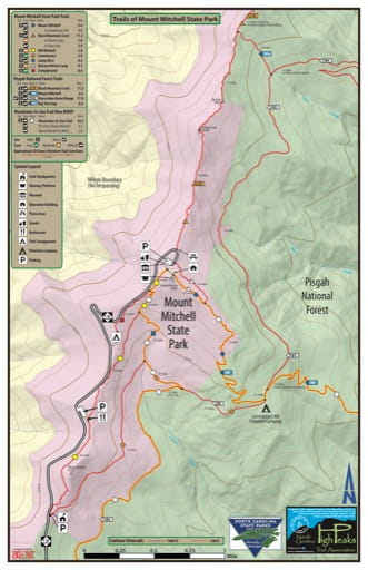 Trails Map of Mount Mitchell State Park (SP) in North Carolina. Published by North Carolina State Parks.