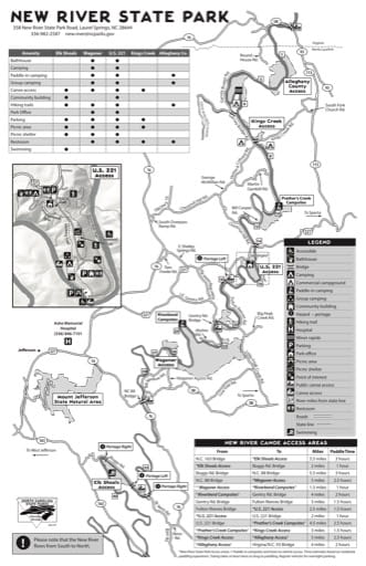 Visitor Map of New River State Park (SP) in North Carolina. Published by North Carolina State Parks.