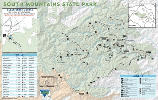 Trails Map of South Mountains State Park (SP) in North Carolina. Published by North Carolina State Parks.