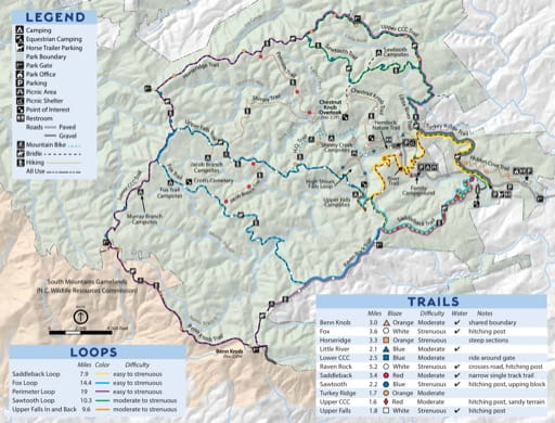 Map of Equestrian Trails at South Mountains State Park (SP) in North Carolina. Published by North Carolina State Parks.