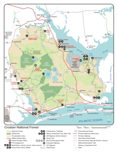 Recreation Map of Croatan National Forest (NF) in North Carolina. Published by the U.S. Forest Service (USFS).