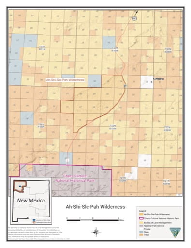 Visitor Map of Ah-shi-sle-pah Wilderness in New Mexico. Published by the Bureau of Land Management (BLM).