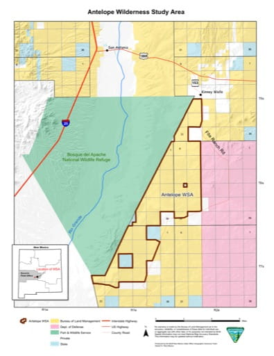 Visitor Map of Antelope Wilderness Study Area (WSA) in New Mexico. Published by the Bureau of Land Management (BLM).