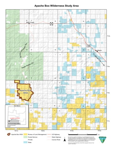 Visitor Map of Apache Box Wilderness Study Area (WSA) in New Mexico. Published by the Bureau of Land Management (BLM).