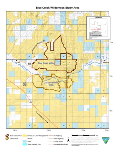 Visitor Map of Blue Creek Wilderness in New Mexico. Published by the Bureau of Land Management (BLM).