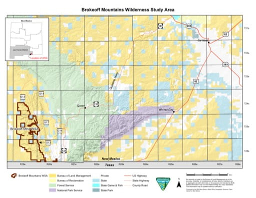 Visitor Map of Brokeoff Mountains Wilderness Study Area (WSA) in New Mexico. Published by the Bureau of Land Management (BLM).