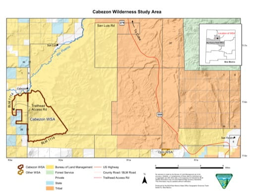 map of Cabezon - Wilderness Map