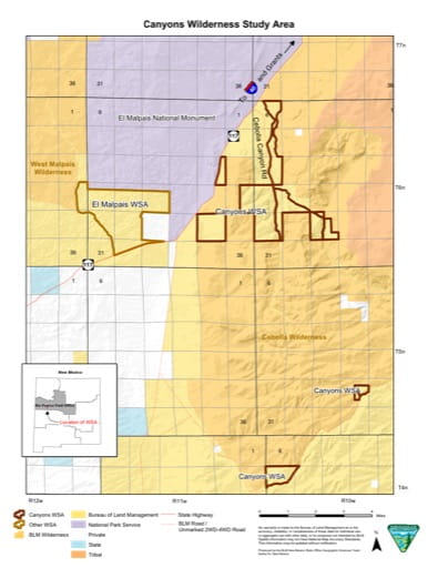Map of Canyons Wilderness Study Area (WSA) in New Mexico. Published by the Bureau of Land Management (BLM).
