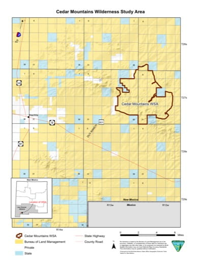Visitor Map of Cedar Mountains Wilderness Study Area (WSA) in New Mexico. Published by the Bureau of Land Management (BLM).