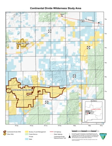 Visitor Map of Continental Divide Wilderness Study Area (WSA) in New Mexico. Published by the Bureau of Land Management (BLM).