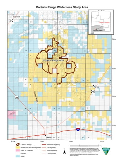 Visitor Map of Cooke's Range Wilderness Study Area (WSA) in New Mexico. Published by the Bureau of Land Management (BLM).