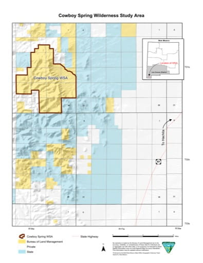 Visitor Map of Cowboy Spring Wilderness Study Area (WSA) in New Mexico. Published by the Bureau of Land Management (BLM).