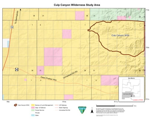 Visitor Map of Culp Canyon Wilderness Study Area (WSA) in New Mexico. Published by the Bureau of Land Management (BLM).
