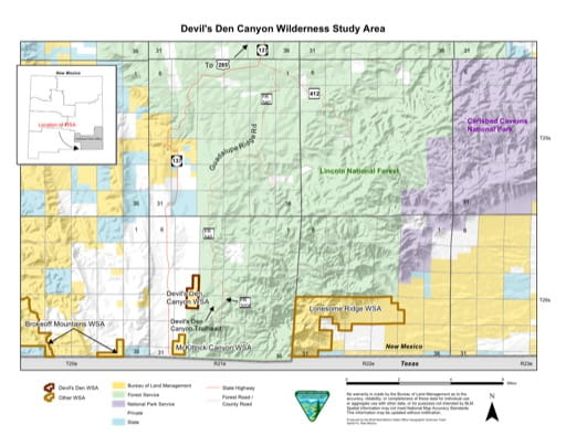 Visitor Map of Devil's Den Canyon Wilderness Study Area (WSA) in New Mexico. Published by the Bureau of Land Management (BLM).