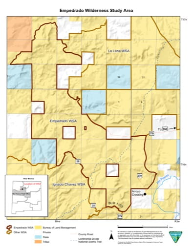 Visitor Map of Empedrado Wilderness Study Area (WSA) in New Mexico. Published by the Bureau of Land Management (BLM).