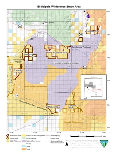 Map of El Malpais Wilderness Study Area (WSA) in New Mexico. Published by the Bureau of Land Management (BLM).