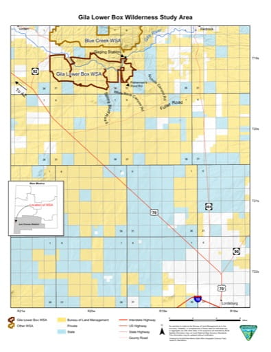 Visitor Map of Gila Lower Box Wilderness Study Area (WSA) in New Mexico. Published by the Bureau of Land Management (BLM).