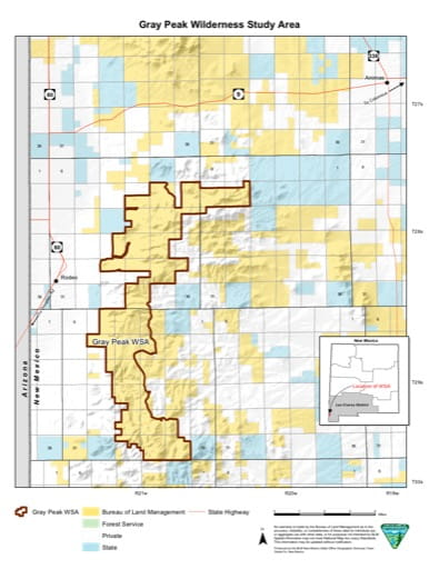 Visitor Map of Gray Peak Wilderness Study Area (WSA) in New Mexico. Published by the Bureau of Land Management (BLM).