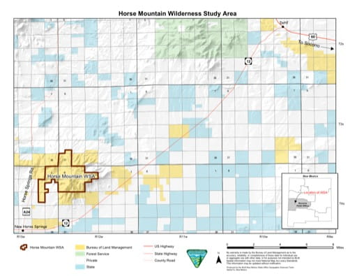 Visitor Map of Horse Mountain Wilderness Study Area (WSA) in New Mexico. Published by the Bureau of Land Management (BLM).