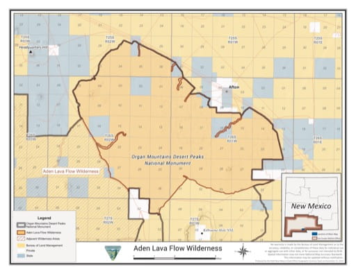 Visitor Map of Aden Lava Flow Wilderness in the BLM Las Cruces District in New Mexico. Published by the Bureau of Land Management (BLM).