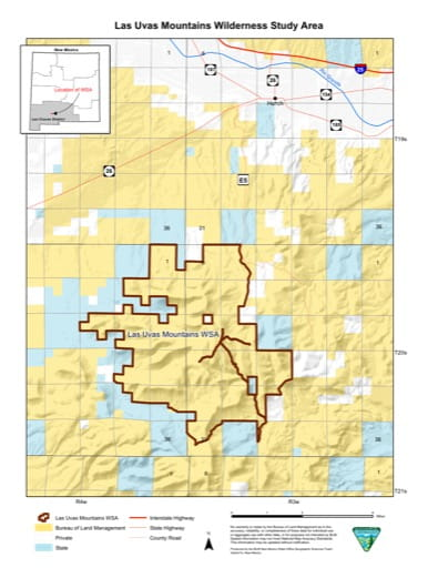 Visitor Map of Las Uvas Mountains Wilderness Study Area (WSA) in New Mexico. Published by the Bureau of Land Management (BLM).