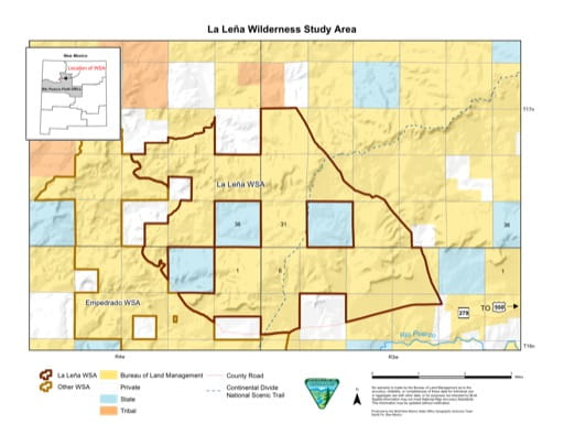 Visitor Map of La Leña Wilderness Study Area (WSA) in New Mexico. Published by the Bureau of Land Management (BLM).