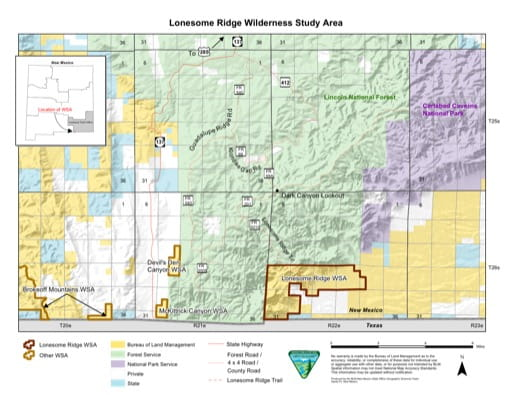 Visitor Map of Lonesome Ridge Wilderness Study Area (WSA) in New Mexico. Published by the Bureau of Land Management (BLM).