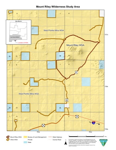 Visitor Map of Mount Riley Wilderness Study Area (WSA) in New Mexico. Published by the Bureau of Land Management (BLM).