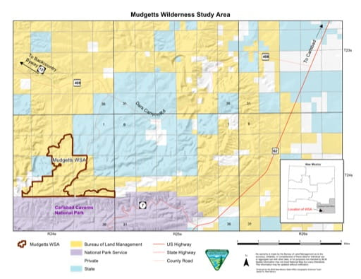 Visitor Map of Mudgetts Wilderness Study Area (WSA) in New Mexico. Published by the Bureau of Land Management (BLM).