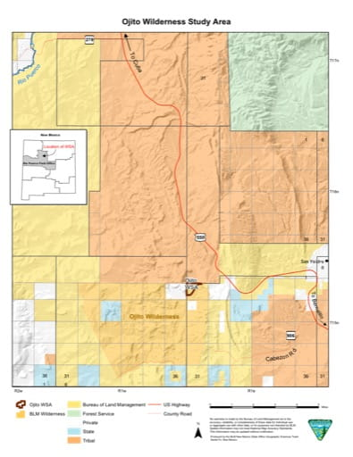 Visitor Map of Ojito Wilderness Study Area (WSA) in New Mexico. Published by the Bureau of Land Management (BLM).